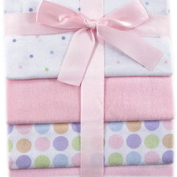 Luvable Friends 4-Pack Flannel Receiving Blankets, Pink,28 x 28