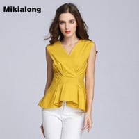 Mikialong New Fashion Women White Ruffle Blouse Peplum Summer Tops 2017 Female V-neck Sleeveless Shirt Women Blusas Camisa Mujer