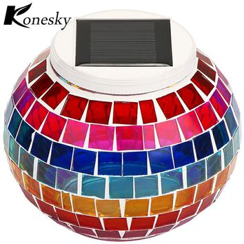New Solar Powered Mosaic Glass Ball Garden Lights Colorful Changing Yard Balcony Lamps Waterproof Indoor Outdoor Light