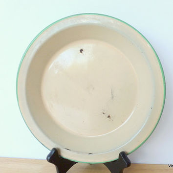 Vintage Enamel Plate Camping Plate Rustic Home Decor Beige and Green Chippy Enamel Plate Enamelware Country Home Decor
