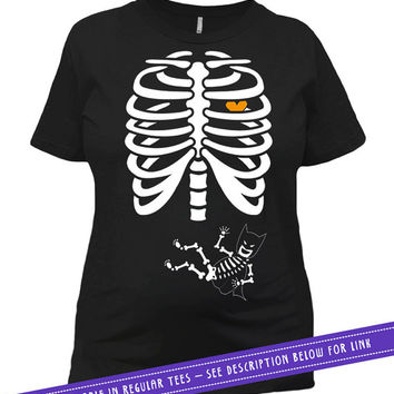 Pregnancy Halloween Costume Pregnant Skeleton T Shirt Baby Announcement Gifts For Expecting Mother Maternity Outfits Ladies Tee MAT-59