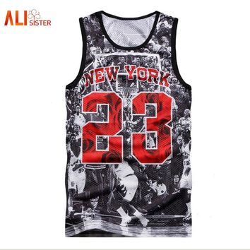 Alisister NEW YORK Jordan 23 Tank Tops Men's 2018 Summer 3d Mesh Vest Fit Slim Sleeveless Tee Shirts Bodybuilding Clothing
