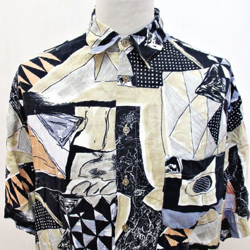 Vintage 1990s Shirt Angular Shapes Triangle Crazy Print Funk Soul Pattern Large