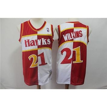 Atlanta Hawks 21 Dominique Wilkins Doubel Color Spell Swingman Jersey