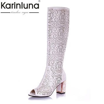 Brand New Full Garin Leather Women Knee High Summer Boots Sexy 7 CM Heels Ladies Blue White Black Gladiator Boots Open Toe Shoes