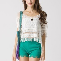 White Crochet Top with Fringe Trim