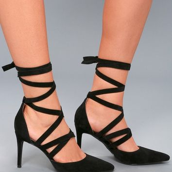 Kennedy Black Suede Lace-Up Heels