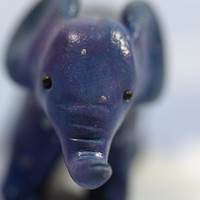 Starry Night Elephant Figurine in Celestial Blue OOAK Original Sculpture