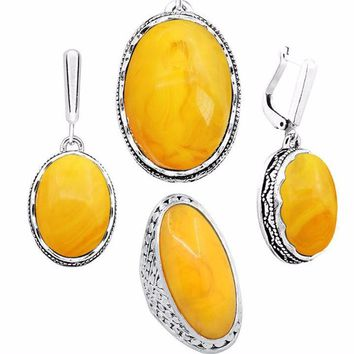 Simulated Yellow Oval Necklace, Earring & Ring Set