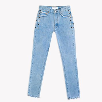 Eyelet High Waisted Stonewash Jeans
