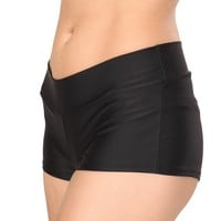 Black Solid Color Booty Shorts