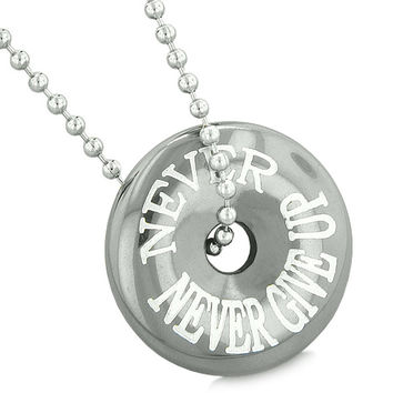 Inspirational Never Never Give Up Amulet Magic Coin Lucky Charm Donut Hematite Pendant 22 inch Necklace