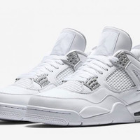 """[FREE SHIPPING] AIR JORDAN 4 (WHITE / SILVER """"PURE MONEY"""") Style Code: 308497 100"""