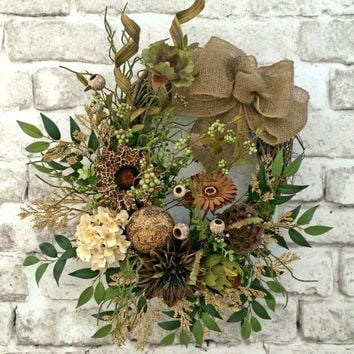 Neutral Summer Wreath, Front Door Wreath, Summer Outdoor Wreath, Woodsy Burlap Wreath, Silk Floral Wreath,Grapevine Wreath, Fall Wreath