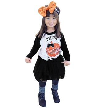 Infant Baby Girls Clothes Set Halloween Costume For Kids Pumpkin Tops+Tutu Skirt 2Pcs Toddler Girl Auttmn Clothing Outfits Sets