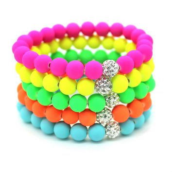 8mm Candy colors Silicone Beads Bracelet for Men Women Trendy DIY Fluorescent Neon Strand Bandage Charm Bracelets Bangles.