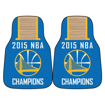 Golden State Warriors 2015 NBA Champion 2-Piece Printed Carpet Car Mats (18x27)