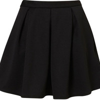 TOPSHOP Black Ribbed Pleated Skirt