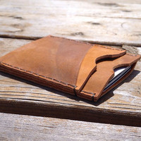 Saddle Tan Distressed Leather Card and Cash Wallet