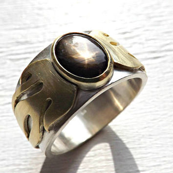 gold star sapphire ring, cool mens promise ring gold silver, mens wedding band two tone statement ring flames, unique mens ring sapphire