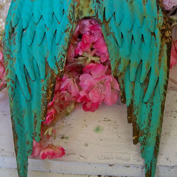 Deep turquoise aqua rusty metal wings distressed wall sculpture farm house home decor Anita Spero