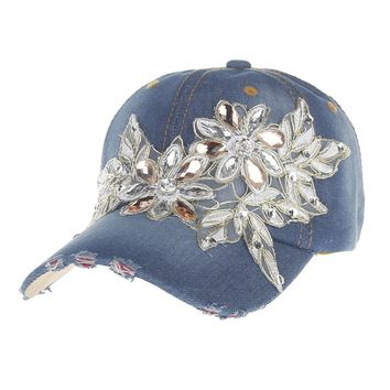 Surblue Fashion Cotton Jean Caps Women Rhinestone baseball cap Lady Blue Jean summer hat snapback caps denim berets floral cap