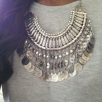 Silver Coin Boho Statement Necklace