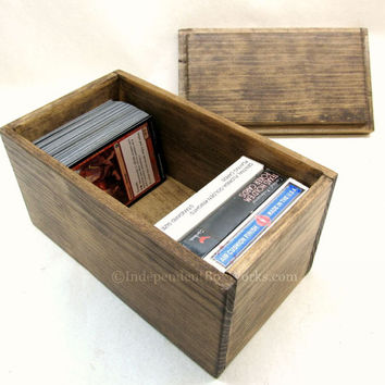 Small Playing Card Storage Box - Little Rustic Wood Gift Box - Handmade Box with Drop In Lid - Trading Card Game Storage - Cottage Chic Gift