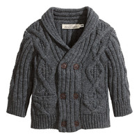 H&M - Cable-knit Cardigan - Dark gray - Kids