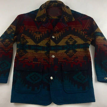 Vintage Woolrich Southwestern Coat - Native Blanket Design - Cowgirl Country Western - Aztec Ethnic Wool Jacket - Navajo Inspired - Large