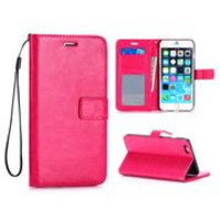 Crazy Horse Wallet Style Magnetic Flip Stand PC+ PU Leather Case with Strap for iPhone 6 Plus (Pink)