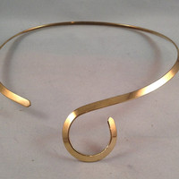 Triple Plated Gold Plate S- Curve Choker Necklace Jewelry Easy On Easy Off for Pendants/Slides