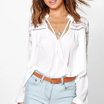 Petite Sally Ruffle Neck Lace Georgette Top | Boohoo