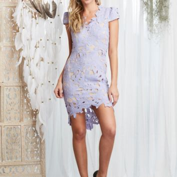 first day lilac floral appliqué bodycon dress