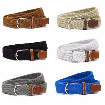 Fashion Men and Women's Canvas belt elastic stretch canvas belt pin buckle Knitted Belt braided belts young student