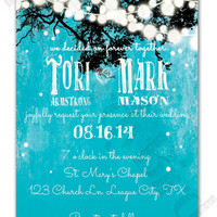 Dangling Lights on Rustic Turquoise Background Design Printable Wedding Invitation and Matching RSVP Card