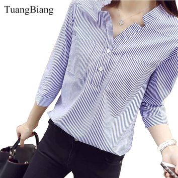New Spring Three Quarter Sleeve Stand Collar Shirt Women Blue And White Striped Loose Plus Size Blouse Female Vintage Tops