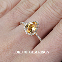 Pear Citrine Engagement Ring Pave Diamond Wedding 14k Yellow Gold