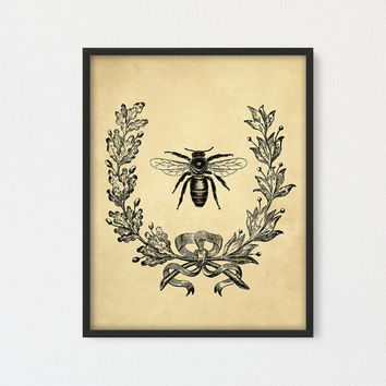 Vintage French Bee with Berry Wreath Botanical Art Printable, Home & Garden Decor Digital Print, Honey Bee, French Wreath, Vintage Wall Art
