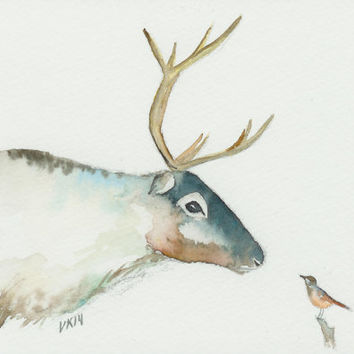 Reindeer and a bird. Finnish Lapland painting. Siberian jay and a reindeer. Unique christmas card. Art from Finland.