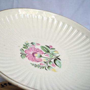 Vintage white milk faience cake plate with flowers design. Made in USSR