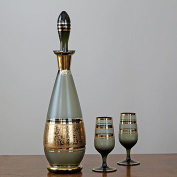 1960s Czech Glass Decanter and Glasses / Vintage Cordial Set