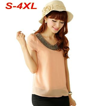 S-4XL Plus Size Chiffon Blouse Women 9 Colors Summer Style Beading Petal Sleeve Lined Casual Tops blusas femininas T5637