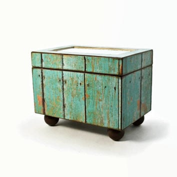 Decorative storage box, wood recipe box, turquoise weathered barn wood design, trinket holder, potpourri holder, rustic kitchen decor