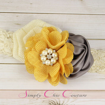 Yellow Ivory and Gray Rustic Burlap Headband, Burlap Lace Headband, Flower Girl Headband, Wedding Hairpiece, Country Headband, Burlap