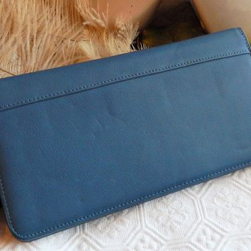 Fossil Genuine Leather Credit Card/Passport Holder Wallet in Blue