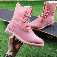 Best Online Sale Timberland Authentics Waterproof Fold DownShearling Pink Mid Boots Outdoor Sneaker