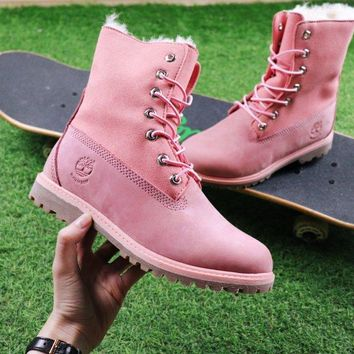 Best Online Sale Timberland Authentics Waterproof Fold Down Shearling Pink Mid Boots Outdoor Sneaker