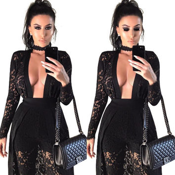 Women Sexy Lace Rompers Womens Jumpsuit Summer Hollow Out Bodysuit Elegant Party Club Jumpsuit Combinaison Femme