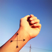 2pcs Cross arrow tattoo - InknArt Temporary Tattoo - wrist quote tattoo body sticker fake tattoo wedding tattoo small tattoo